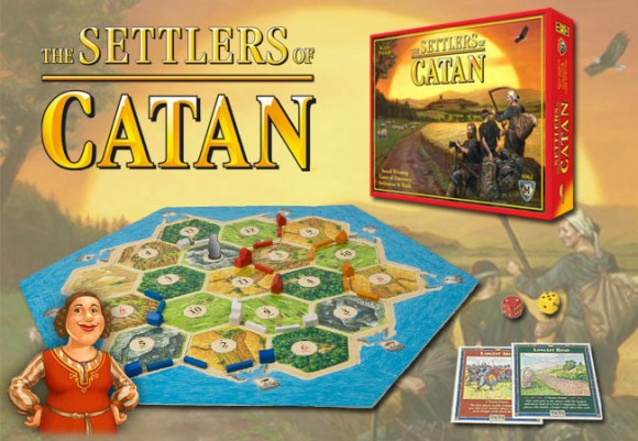 The Settlers of Catan game in play