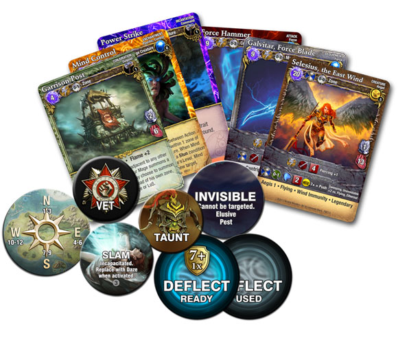 Mage Wars: Forcemaster vs Warlord cards and tokens