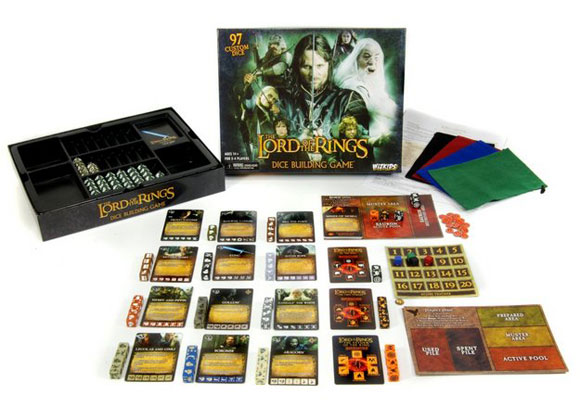 Lord of the Rings: Dice Building Game box and contents