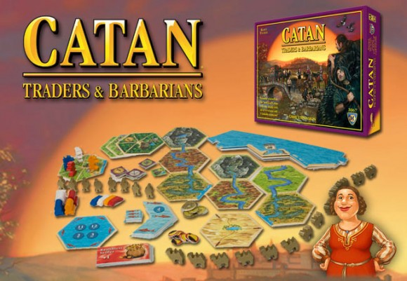 Catan: Traders & Barbarians game in play