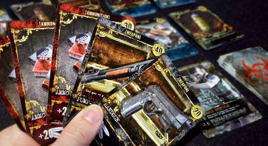 Resident Evil Deck Building Game weapon cards