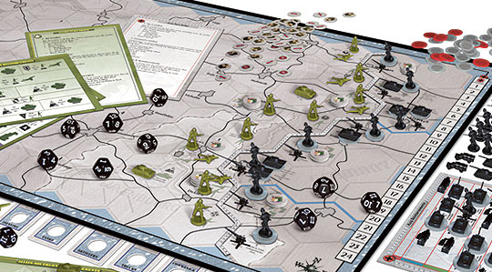 Axis & Allies Battle of the Bulge game in play
