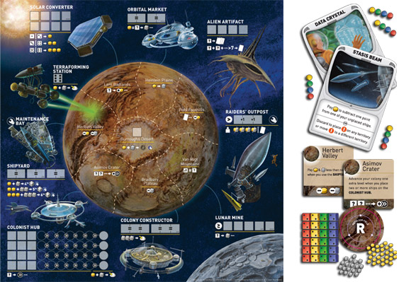 Alien Frontiers board and contents