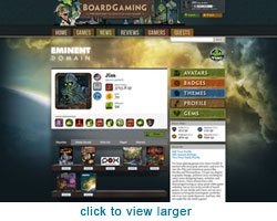 Example of profile page with a game theme