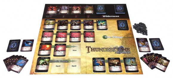 Thunderstone Advance game in play and components