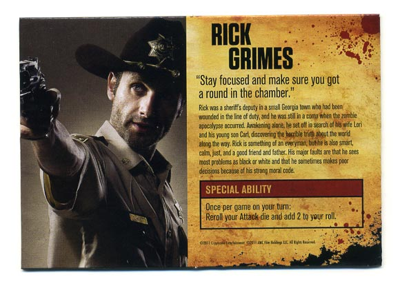 The Walking Dead Board Game character card