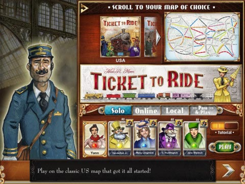 Ticket to Ride map selection