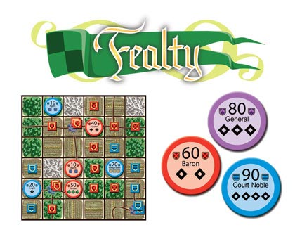 Fealty game board and tokens