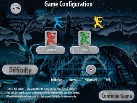 Ghost Stories game setup screen