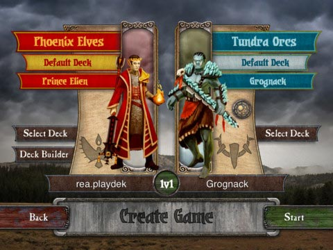 Summoner Wars game creation screen