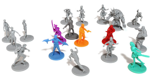 Zombicide miniatures on white