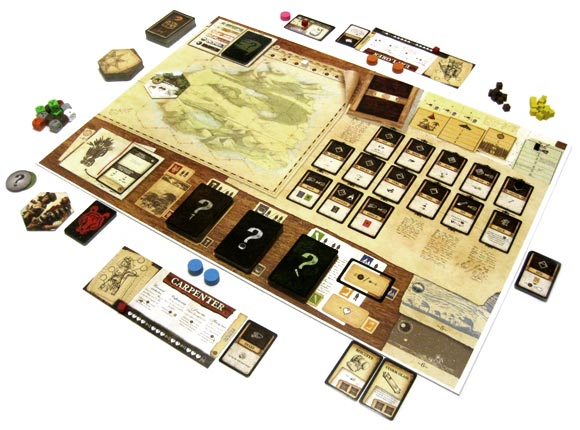 Robinson Crusoe: Adventure on the Cursed Island board game in play