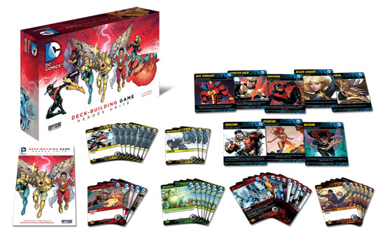DC Deck-Building Game: Heroes Unite components