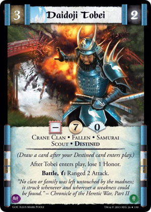 L5R Gates of Chaos Daidoji Tobei destined card