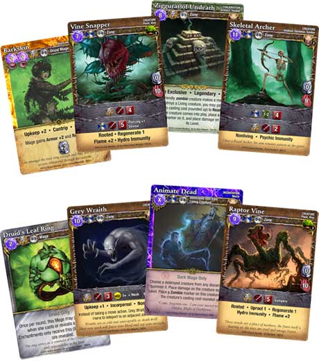 Mage Wars: Druid vs Necromancer expansion cards