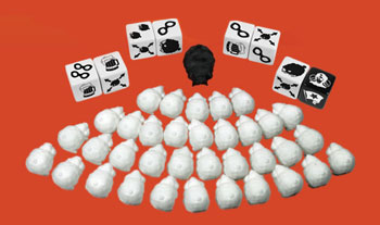 Angry Sheep dice game components