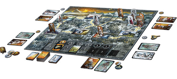 Winter Tales board game in play