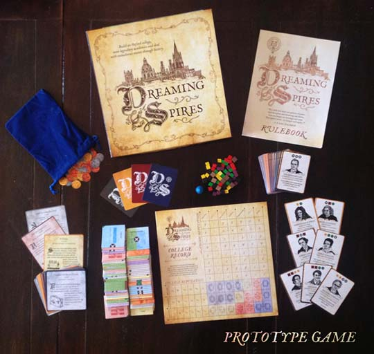 Dreaming Spires board game components