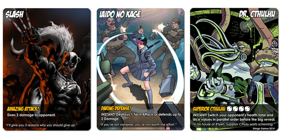 Capes and Villains card examples