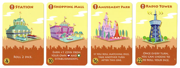 Machi Koro landmark cards