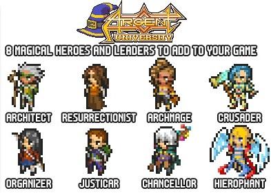 Pixel Tactics: Argent University heroes