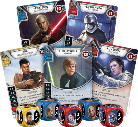 Star Wars: Destiny cards and dice